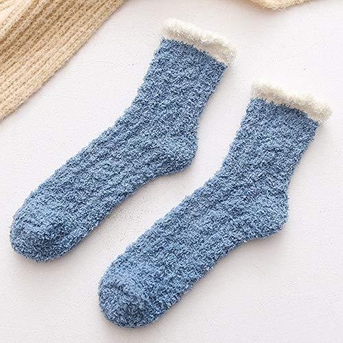 Calcetines de Lana de Coral de Invierno en Tubo Calcetines para Adultos Calcetines cálidos Salvajes Calcetines de Toalla para Adultos Calcetines-Blue