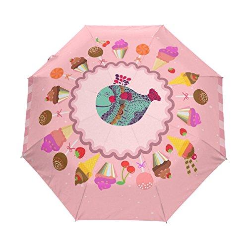 Pinker Fisch Regenschirm Auf-Zu Automatik UV-Schutz Taschenschirm Winddichter Umbrella Klein Leicht Schirm Kompakt Schirme für Jungen Mädchen Reise Strand Frauen