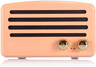 Wireless Bluetooth Retro Speaker with FM Radio, Portable Vintage Speaker, Amazon Alexa Support, Built-in Mic for Hands-Free Calls, 7-8 Hrs Playtime, TF Card, Aux Support for iOS/Android, Lady Pink