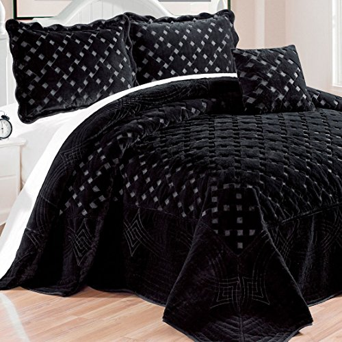 Serenta Faux Fur Quilted Tatami 4 Pcs Bedspread Set, King Black