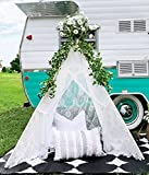 Tiny Land Kids Teepee Tent- Children Play Tent- Boho Lace Tipi Sheer Canopy for Wedding, Party, Photo Prop