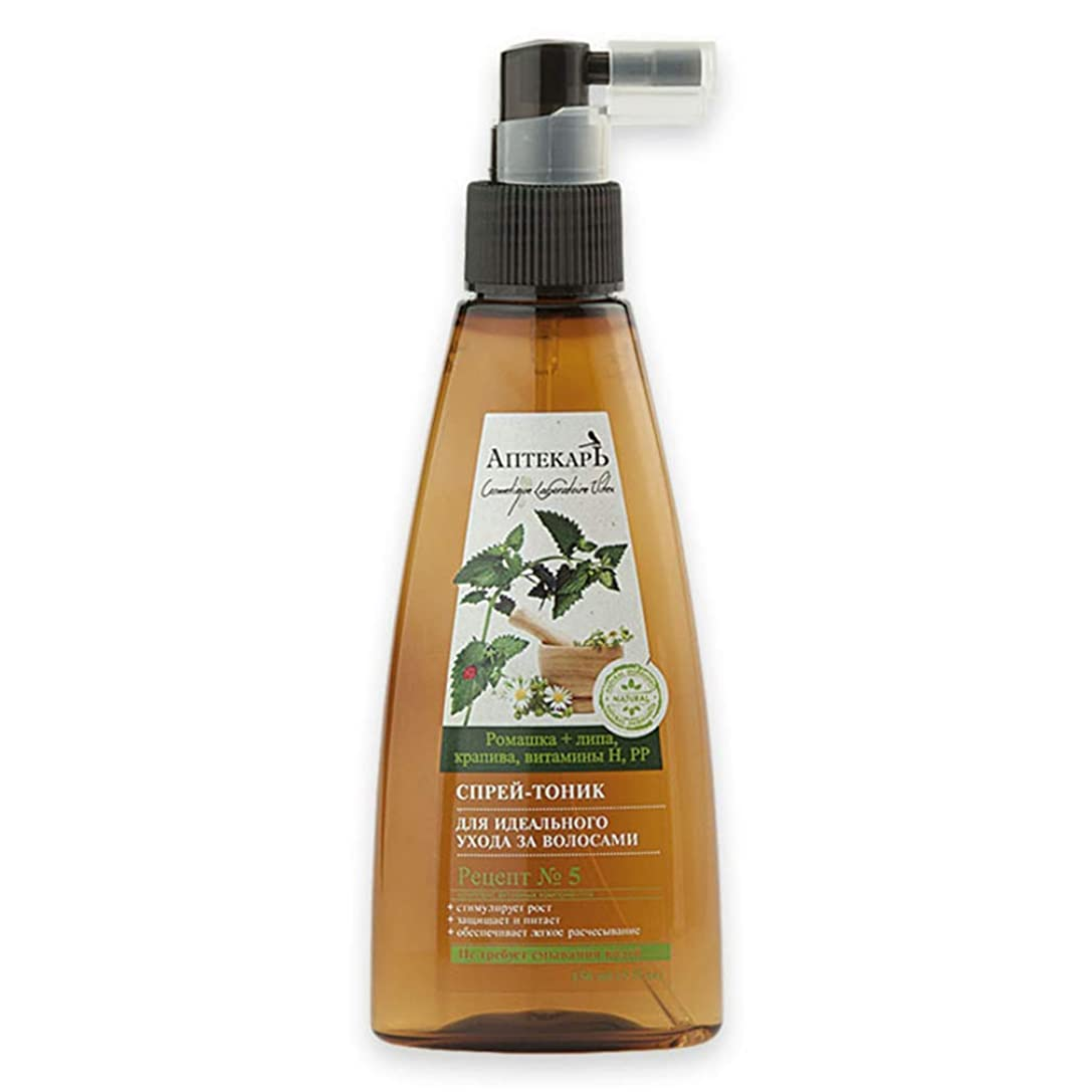 難民ファイターハブBielita & Vitex | Chemist Line | Spray tonic for perfect hair care | Chamomile | linden | Nettle | Vitamins H | PP | Recipe number 5 | 150 ml