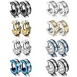 Aroncent Stainless Steel 3 Pairs Mens Small Hoop Huggie Hinged Earrings Set 4mm (Updated Version 8 Pairs)