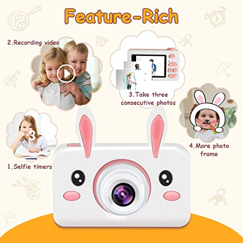 "Kids Camera Gifts for Girls, 2"" IPS Screen 8.0MP Shockproof Mini Child Video Camera Camcorder for Age 3-14 Kids with Soft Rabbit Silicone Cover - Pink (16GB Memory Card Included)"