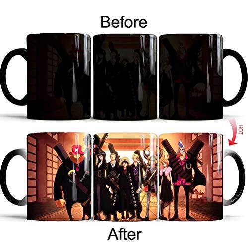 Anime One Piece Kaffeetasse, Ruffy Ändern Kaffeetasse wärmeempfindliche reaktive Keramik Tasse Kaffeetasse Ändern Tasse Weihnachtsgeschenk für Anime-Fans