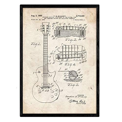 Nacnic gitaar poster patent. Blad met oud designoctrooi op A3-formaat en vintage achtergrond