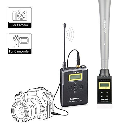Saramonic UwMic15B Profesional Transmisor inalámbrico portátil y sistema de micrófono receptor para usar micrófono XLR con Canon Nikon Sony Cámara DSLR Panasonic para la recopilación de ENG