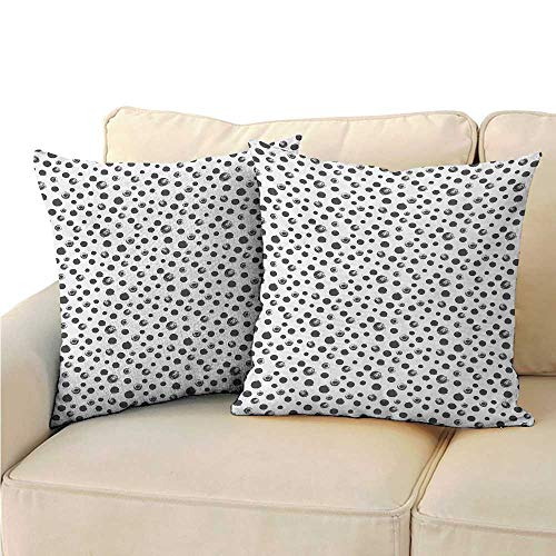 Ediyuneth Decorative Square Accent Pillow Case Grunge,Circle Paint Smear Spotty Pattern with Weathered Look Brushstroke Dots,Charcoal Grey White 18'x18',Throw Pillow Cases for Couch