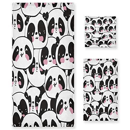 xigua Juego de 3 toallas de baño con diseño de panda de dibujos animados, color blanco y negro, ultrasuave, toalla de mano para spa, ducha, bañera, regalo cálido