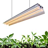 Monios-L T5 LED Grow Light, 4FT Full Spectrum Sunlight Replacement, 60W High Output Integrated Fixture with Rope Hanger for Indoor Plants, Hydroponics, Seedling, Growing, Blooming