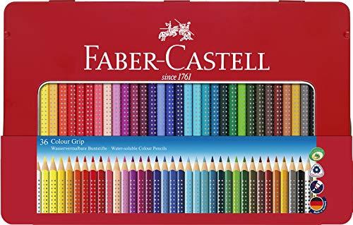 Faber-Castell 112435 - Estuche de metal con 36 lápices triangulares, escolares, de colores, con agarre Grip y acuarelables