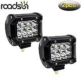 Roadsun 4 pulgadas 36W Barra de luz LED Spot Beam 7200LM Faros antiniebla todoterreno LED Lámpara de trabajo de conducción 12V 24V 6000K Xenon Blanco - 2 piezas