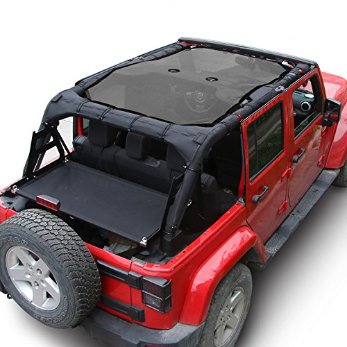 JeCar Mesh Shade Top Cover UV Protection Soft Top for Jeep Wrangler JK 2007-2017 (4 Door Black)
