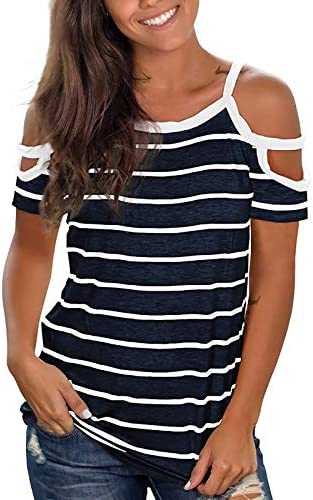 Women s Off Shoulder Striped Print Color Tee Block Tunic Crewneck Short Sleeve Shirts Causal product image