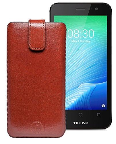 Original Favory Etui Tasche für TP-LINK Neffos Y50 | Leder Etui Handytasche Ledertasche Schutzhülle Hülle Hülle Lasche mit Rückzugfunktion* in braun