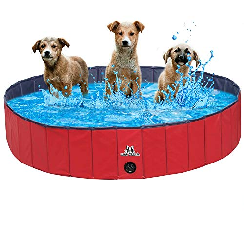 Theo Pool's-XL 63''x11.8'' Pet Bath Swimming Pool Kiddie Foldable Portable Dog Pool for Large & Small Dogs Ball Pit Baby Pool Indoor & Outdoor Cats & Kid Slip-Resistant Material Hard Plastic Wash Tub