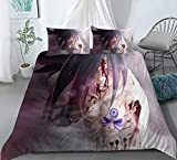 Dgdgd Naruto Uchiha Madara was Injured and Bleeding Anime Comforter Set 3D Printing Bedding Soft Polyester Gifts for Anime Fans Room (1 Quilt Cover + 2 Pillowcase) (US-Queen: 228x228cm)