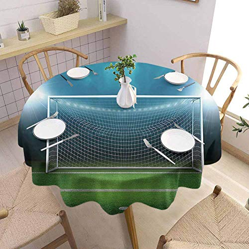 Sports Decor Tablecloth - 60 Inch Multi-Pattern Round Table Cloth Soccer Goal Post Sports Area Winner Loser Line Floodlit Best Team Finals Game Gym Theme Decorated Kitchen Green Blue