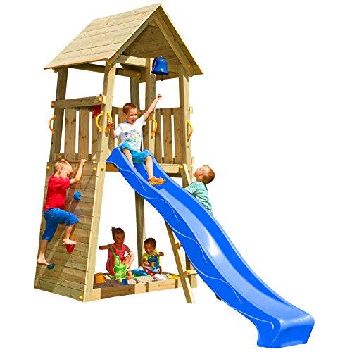 Blue Rabbit 2.0 Spielturm Belvedere mit Rutsche Kletterturm mit Kletterwand Glocke Sandkasten Lenkrad und Holzdach (Rutschenlänge 2,90 m, Blau)