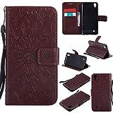Hülle für LG X Power / K220 Hülle Handyhülle [Standfunktion] [Kartenfach] [Magnetverschluss] Schutzhülle lederhülle flip case für LG X Power - DEKT031843 Braun