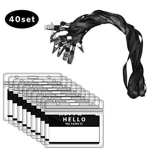 Ausweishülle mit Band, Zalava 40 Stück Kartenhalter Ausweishalter Lanyard wasserdicht Karten Schutzhülle für Business, Ausstellung, Büro und Schule (Schwarz)