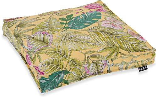 H.O.C.K. Eliza-Bouquet Outdoor Sitzkissen Blumen-Motiv 40x40x5cm wasserabweisend/lichtecht (Sitzkissen 40x40x5cm, Gelb)
