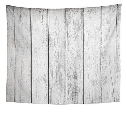 zzxywh Grauer rustikaler weißer Planken-Holztisch Abstraktes Architektur-Brett-Wandteppich-Hauptdekor-Wandbehang 130 × 150 cm
