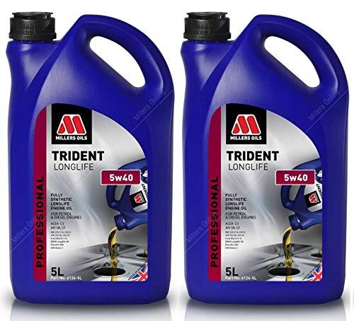 Millers Oils Trident Longlife 5W40 C3 volledig synthetische motorolie, LL04 Dexos 2, 10 liter