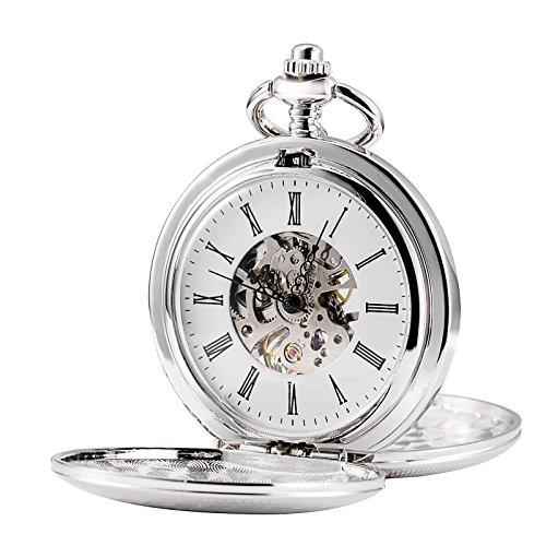 Treeweto, orologio da tasca, con ingranaggio a vista, doppia apertura, movimento meccanico a carica manuale, linea Full Hunter, colore argento
