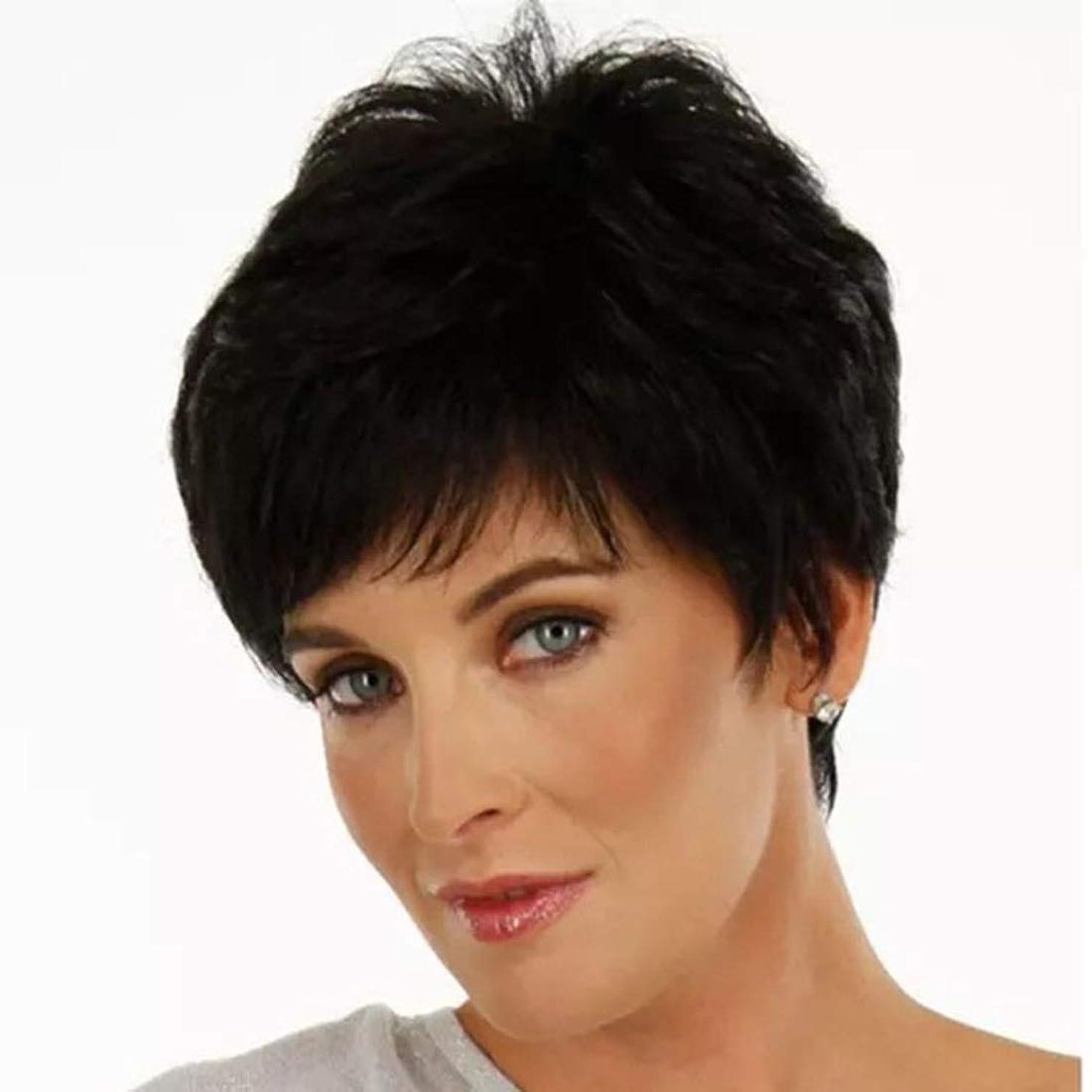怠感マウス入射Summerys 女性のための短いストレートヘアケアファイバー高温シルクウィッグヘッドギアをかつら