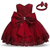TTYAOVO Bebé Boda Bautismo Bautizo Tutu Vestido Chicas Princesa Vestir Talla(120) 4-5 Años 648 Rojo