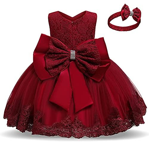 TTYAOVO Bebé Boda Bautismo Bautizo Tutu Vestido Chicas Princesa Vestir Talla(80) 6-12 Meses 648 Rojo