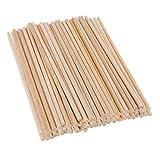 FLAMEER 100 Pack 4mm Holz Stücke Unfertige Naturholz Handwerk Bastelstäbe Platz Stäbe Sticks...