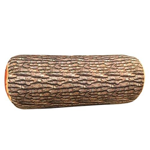 Squarex Motif journal de bois naturel doux Coussin d'oreiller de voiture cou Home Sleeping marron marron A:26X9cm