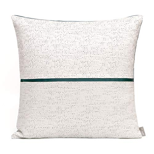 Cushion Covers Silver Silk Green Stripes Splice Bedroom Sofa Decoration Square Pillowcase White 45X45Cm With Core