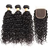 VTAOZI Brazilian Water Wave 3 Bundles with Closure 8A 100% Virgin Wet and Wavy Human hair Weave Bundles with 4x4 Lace Closure Free Part Natural Color (14 16 18+12 Free Part)