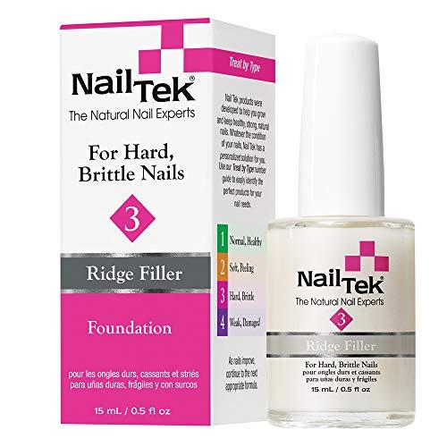 Nail Tek Foundation 3, Ridge Filling Strengthening Base Coat for Hard and Brittle Nails, 0.5 oz,...