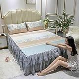 KIKIGO Estera de Seda de Hielo de Verano,Summer Lace Bed Mat Skirt, Foldable and washable-A20_Three Piece Set for 2.0m Bed