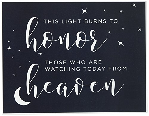 Andaz Press Love You to the Moon and Back Wedding Collection, Party Signs, This Light Burns to Honor Those Who are Watching Today from Heaven Memorial Candle Table Sign, 8.5x11-inch, 1-Pack