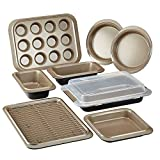 Anolon Eminence Nonstick Bakeware Set with Nonstick Bread Pans, Cookie Sheet, Baking Pans with Lid, Cake Pans and Muffin/Cupcake Pan - 10 Piece, Umber/Brown/Onyx