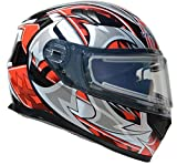 Vega Helmets Ultra Electric Snow Unisex-Adult Full Face Snowmobile Helmet with Heated Shield (Red Shuriken Graphic, 2XL)