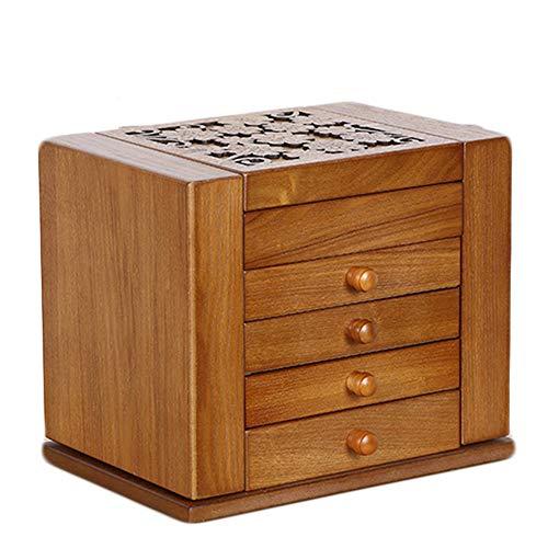 Household items Schmuckschatulle aus Holz, Aufbewahrungsbox für Massivholzschmuck mit großer Kapazität, großer Spiegel mit Deckel-4 Schiebeschubladen-2 kleine Seitenschränke