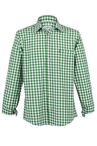 Almsach Herren Trachtenhemd grün-Weiss kariert Langarm von Gr. S-XXXL - Der Klassiker für alle Oktoberfeste und Volksfeste, Tanne, XXL
