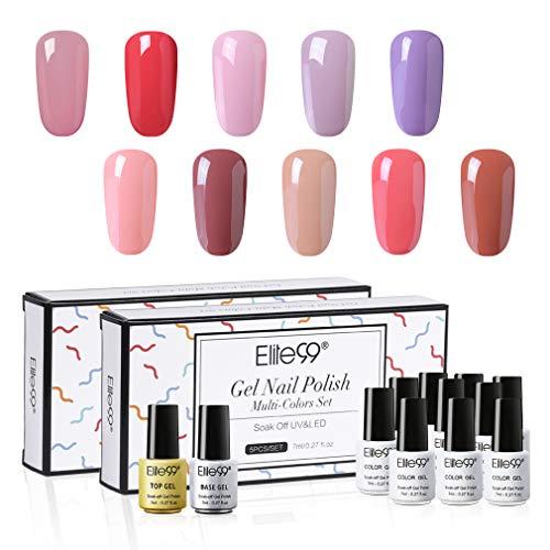 Elite99 UV LED Nagellack Set mit Base und Top Coat 7ML, 10 Farbe Gel Nail Art Gel Geschenk Kit für Muttertag, Lack UV Gelnägel Set002