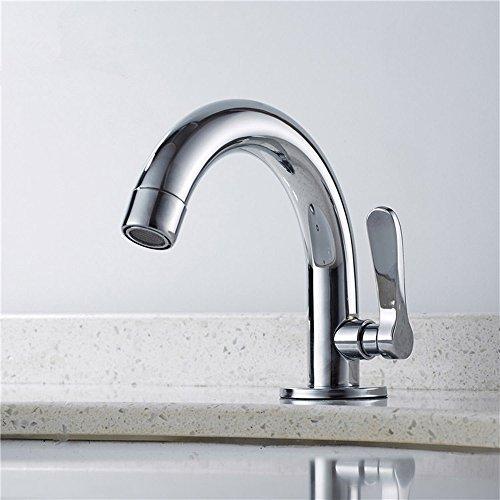 Wasserhahn aus Messing mit einem Griff, für Badezimmer, WC, Waschbecken, Kaltwasserarmaturen, verchromt