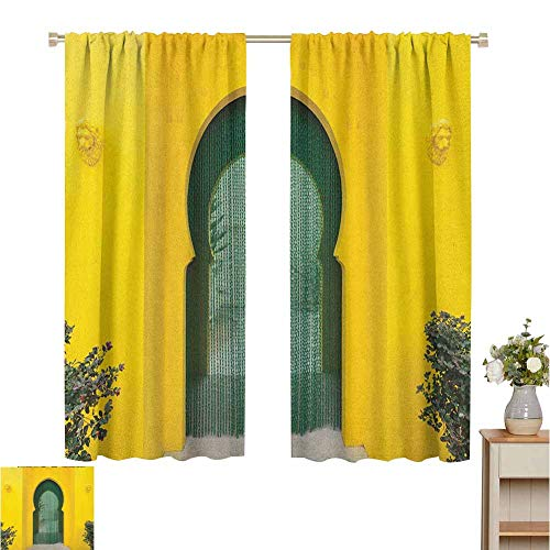 Blackout Curtains for Living Room Curtains for Living Room Morroccan Oriental Walkway Old Building Architecture Stone Carving Photo Great for Living Rooms and Bedrooms Set of 2 Panels W55 x L39