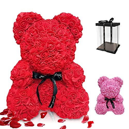 Gohytal Orso Rosa Regalo, Orsacchiotto Composto da Rose Artificiali Orso di Rose con Scatola Orsacchiotto Rosa Orsacchiotto Fiori Orso Rosa Fatto a Mano Regali per Fidanzata,San Valentino,Compleanno