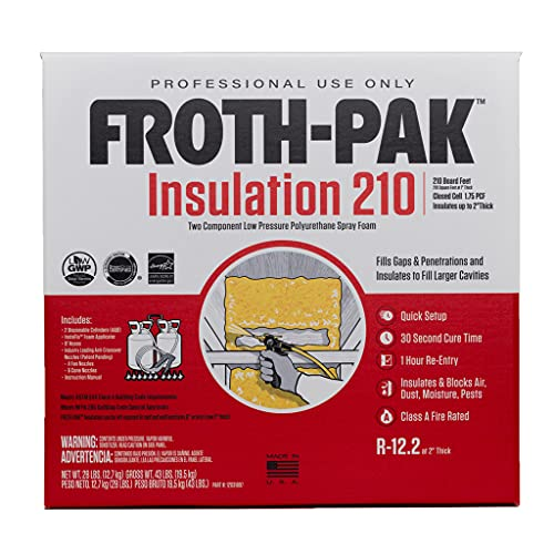 Froth-Pak 210 Spray Foam Insulation Kit, 9ft Hose. Improved Low GWP Formula. Insulates Cavities, Penetrations & Gaps Up to 2' Thick. Yields Up to 210 Board ft. Two Component, Polyurethane, Closed Cell