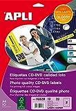 APLI 10328 - Etiquetas CD/DVD permanentes tamaño mega brillante 10 hojas L/C, Acabado Brillante, 719274