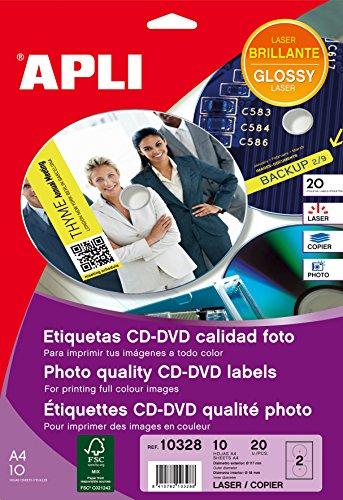 APLI 10328-Etiquetas CD/DVD permanentes tamaño mega brillante 10 hojas L/C